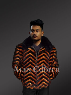 V-Cut Two Color Mink Fur Bomber for Men's With Fox Fur Collar views