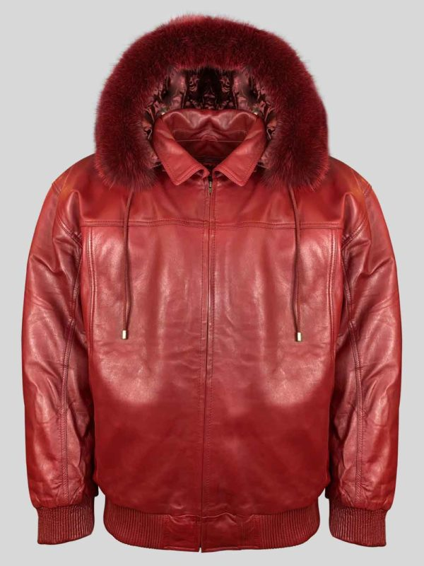 WINE COLOR PURE LEATHER JACKET WITH REAL FUR HOOD