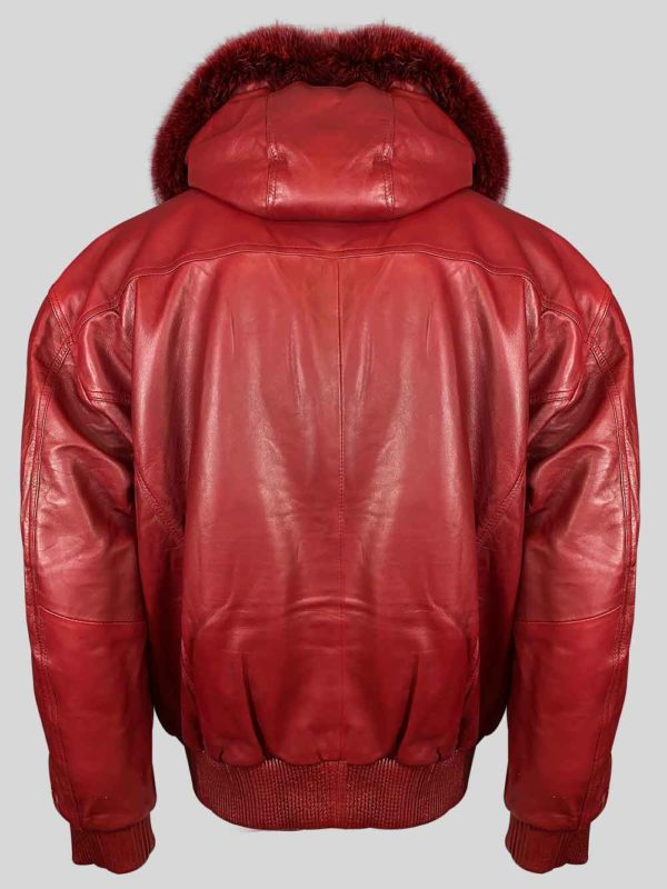 WINE COLOR PURE LEATHER JACKET WITH REAL FUR HOOD BAckside view