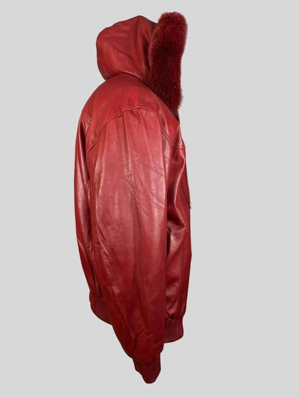 WINE COLOR PURE LEATHER JACKET WITH REAL FUR HOOD Side view
