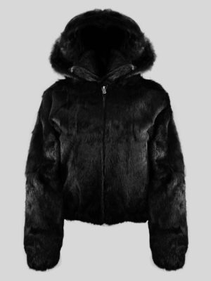 WOMEN'S FULL SKIN RABBIT BOMBER WITH DETACHABLE HOOD IN BLACK