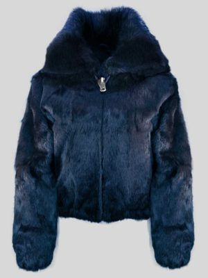 WOMEN FULL SKIN RABBIT BOMBER WITH DETACHABLE HOOD IN NAVY