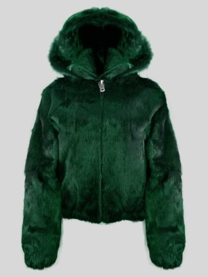 WOMENS FULL SKIN RABBIT BOMBER WITH DETACHABLE HOOD IN GREEN