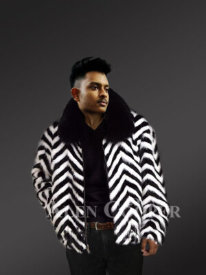 Zebra V-Cut Two Color Mink Fur Bomber for Men's With Fox Fur Collar new