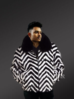 Zebra V-Cut Two Color Mink Fur Bomber for Men's With Fox Fur Collar new views