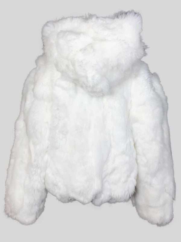 Snow-white real fur outerwear with hood Back side view