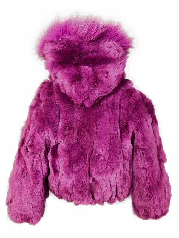 Soft purple fur outerwear for child with hood backside view