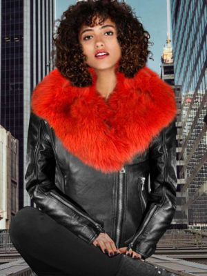 CLASSY BLACK LEATHER MOTORCYCLE JACKET WITH DETACHABLE RED FOX FUR COLLAR