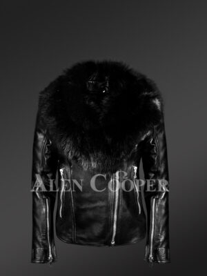 Classy Black Leather Motorcycle Jacket with Detachable Black Fox Fur Collar