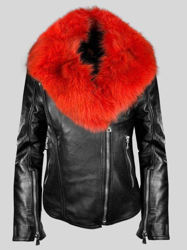Classy black leather jacket with shiny red fur collar