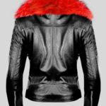 Classy black leather jacket with shiny red fur collar Back side view