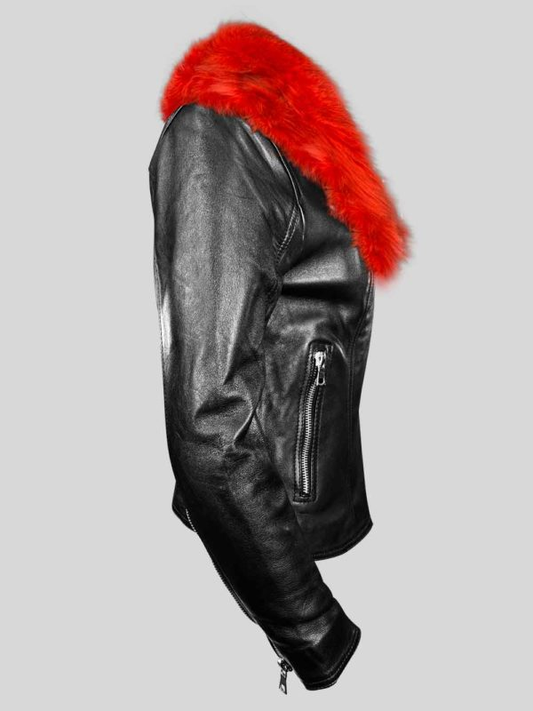 Classy black leather jacket with shiny red fur collar Side view