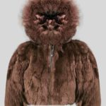 Coffee color real rabbit fur winter outerwear for kids