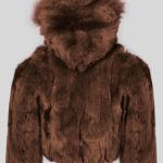 Coffee color real rabbit fur winter outerwear for kids backside view