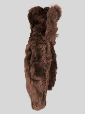 Coffee color real rabbit fur winter outerwear for kids side view