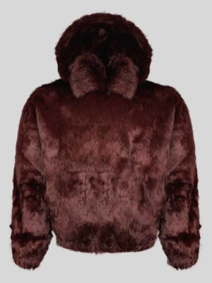 Deep brown colored real rabbit fur winter outerwear for kids