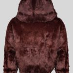 Deep brown colored real rabbit fur winter outerwear for kids backside view