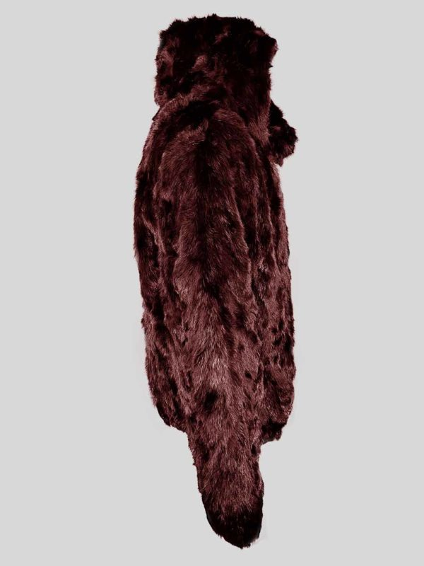 Deep brown colored real rabbit fur winter outerwear for kids sideview