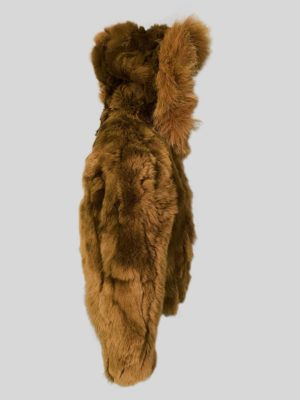 Double tone whisky color real rabbit fur outerwear Backside view