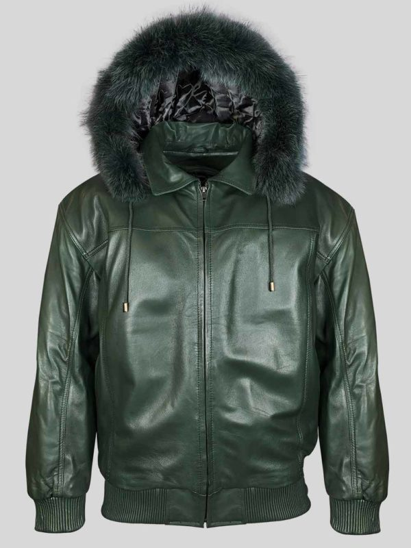 Greenish real leather bomber styled jacket with fur hood