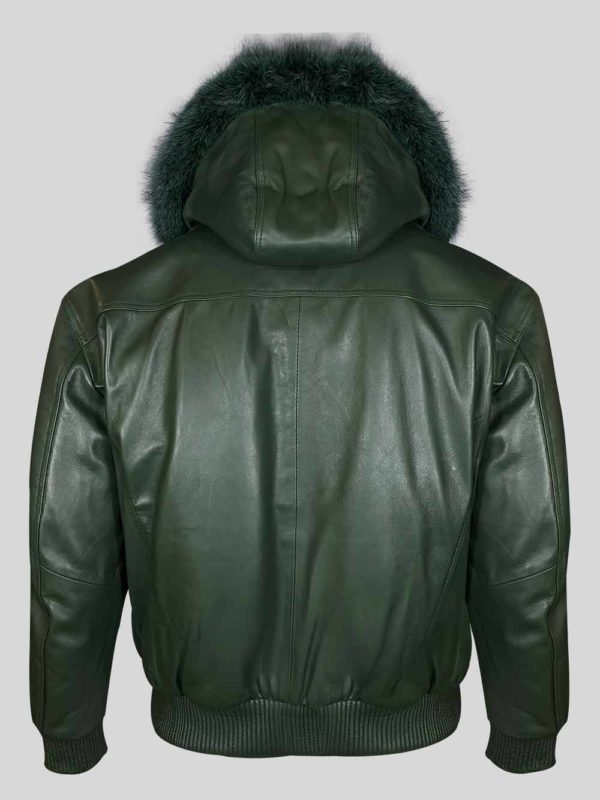 Greenish real leather bomber styled jacket with fur hood back side view