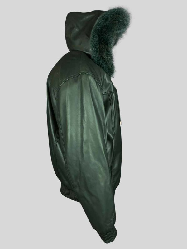 Greenish real leather bomber styled jacket with fur hood side view