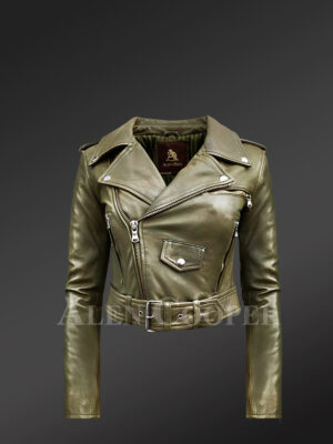 Grey Real Leather Moto Jacket for Women new