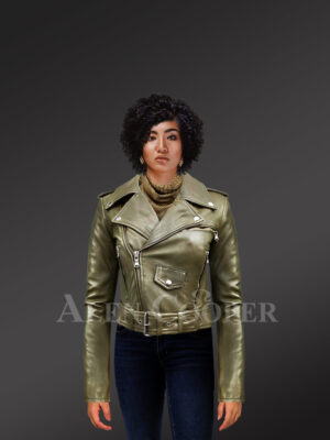 Grey Real Leather Moto Jacket for Women new with model