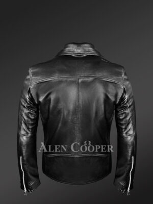 Men's Black Leather Motorcycle Biker Jacket new Back side view