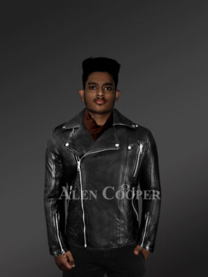 Men's Black Leather Motorcycle Biker Jacket with Model