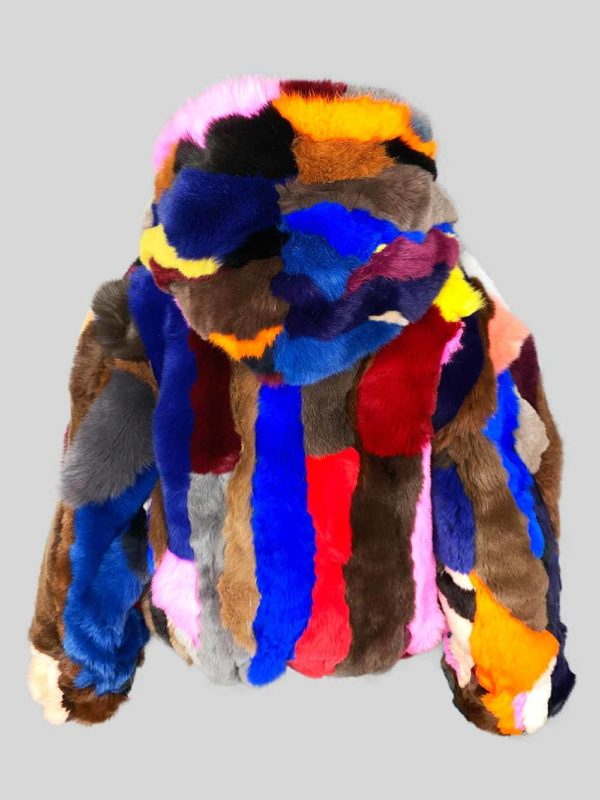 Multi-color stylish fur winter outerwear backside view