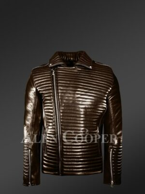 New Men's Goodspeed Quilted Coffee Leather Motorcycle Jacket