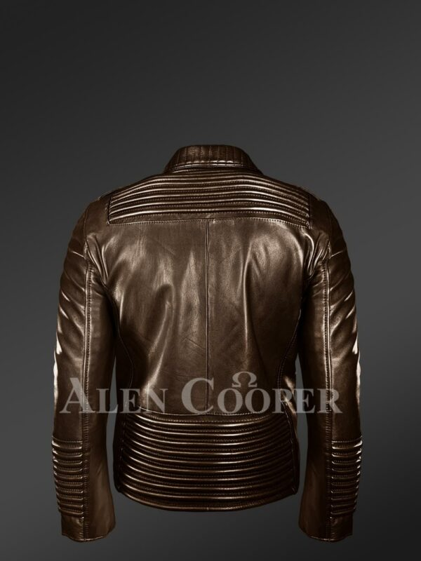 New Men's Goodspeed Quilted Coffee Leather Motorcycle Jacket back side view