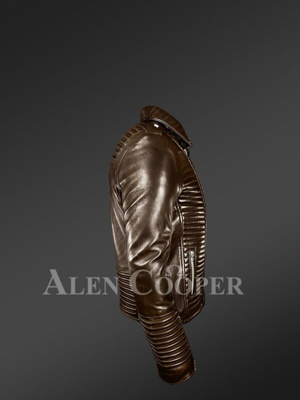 New Men's Goodspeed Quilted Coffee Leather Motorcycle Jacket side view