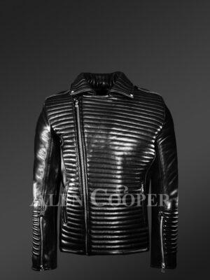 New Men's Quilted Black Leather Motorcycle Jacket