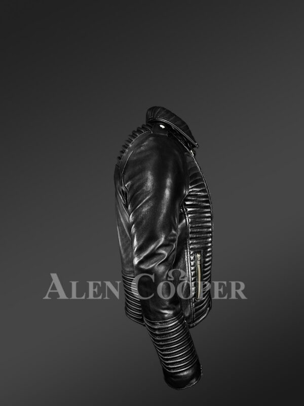 New Men's Quilted Black Leather Motorcycle Jacket side view