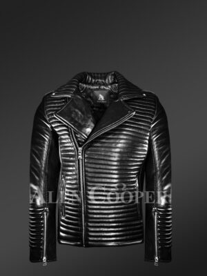New Men's Quilted Black Leather Motorcycle Jacket view