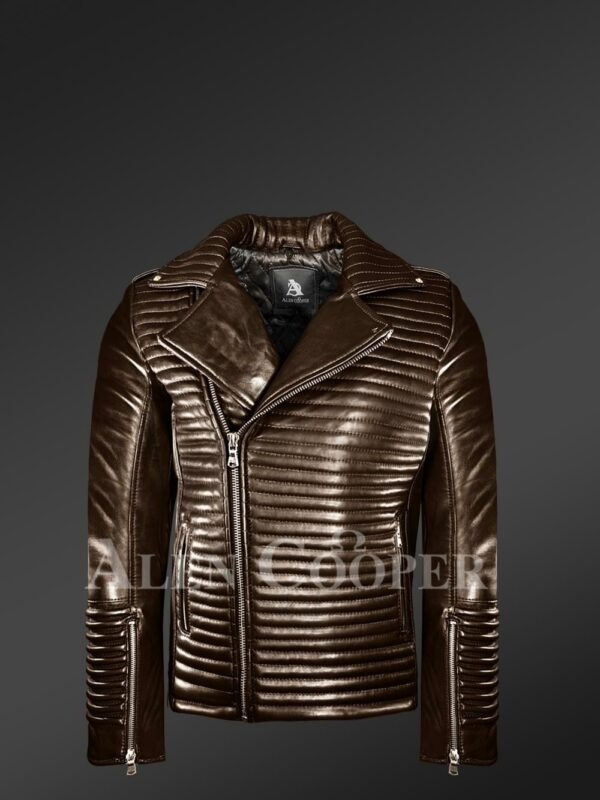 New Mens Goodspeed Quilted Coffee Leather Motorcycle Jacket