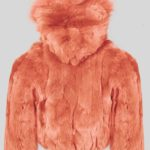 Orange colored real rabbit fur winter outerwear for kids backside view