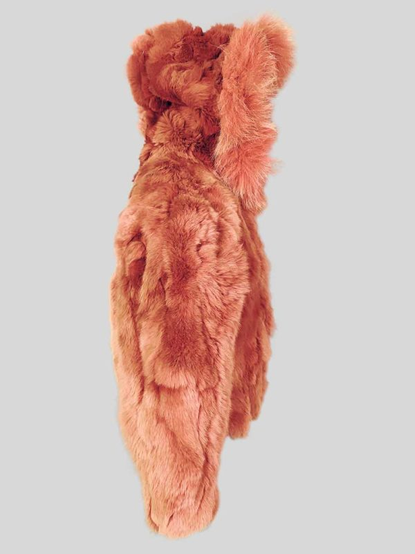 Orange colored real rabbit fur winter outerwear for kids side view