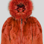 Rabbit fur rust color fur outerwear for kids