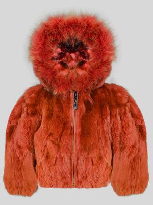 Rabbit fur rust color fur outerwear for kids