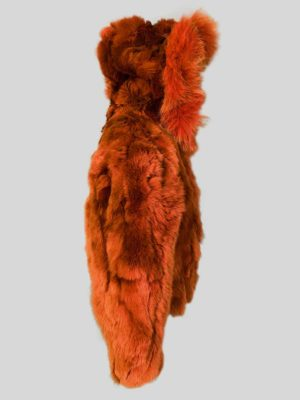 Rabbit fur rust color fur outerwear for kids backside view