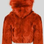 Rabbit fur rust color fur outerwear for kids sideview