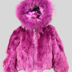 Soft purple fur outerwear for child with hood