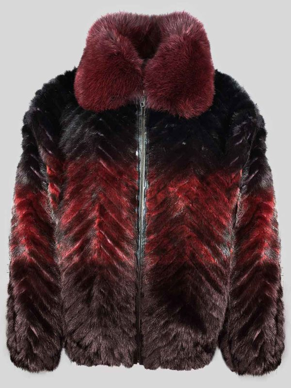 Stylish bi-color (Burgundy-) real mink fur winter outerwear