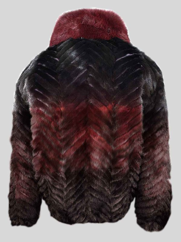 Stylish bi-color (Burgundy-) real mink fur winter outerwear Backside view