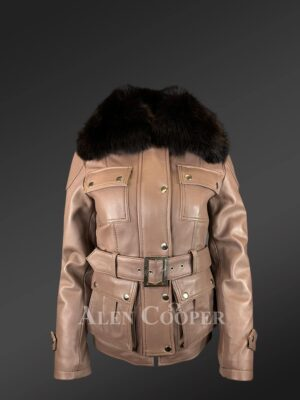 Tan Colored Real Leather Jacket With Fox Fur Collar New view