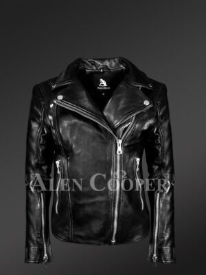 Women's Leather Motorcycle Jacket in Black New view