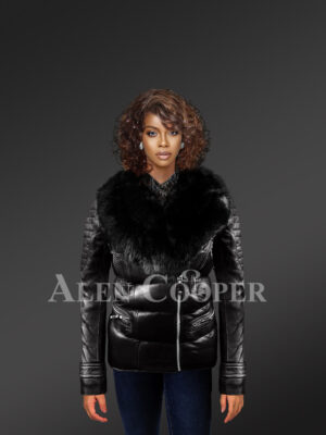 Women's Quilted Black Motorcycle Biker Jacket With detachable Black Fox Fur Collar
